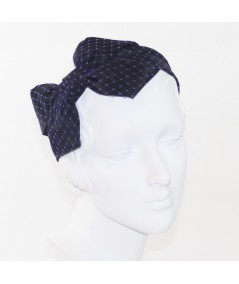 Black Bengaline Covered with Purple Veiling Side Bow Headband