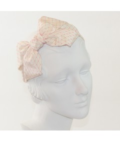 Ivory Bengaline Covered with Hot Pink Veiling Side Bow Headband