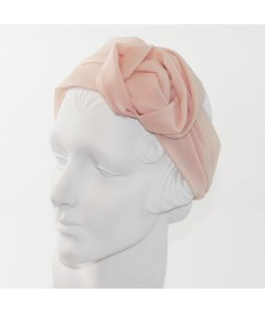 Pale Pink Silk Chiffon Extra Wide Headband with Side Handmade Rose