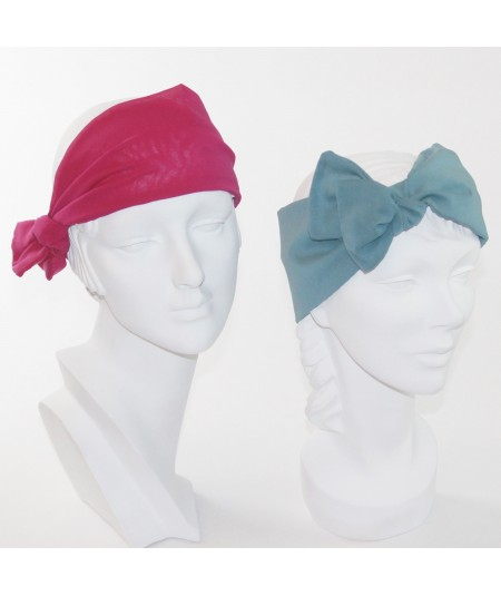 Fuchsia - Petrol Silk Chiffon Wide Headwrap with Side Detail