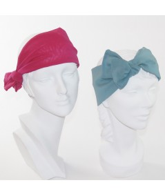 Silk Chiffon Wide Headwrap with Side Detail