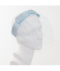 Pale Blue Bengaline Center Bow Face Veil