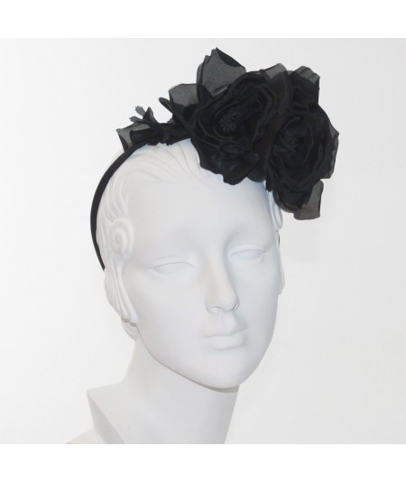 Black Double Rose Headpiece
