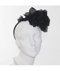 Black Double Rose Headpiece