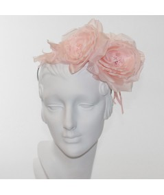 Pale Pink Double Rose Headpiece