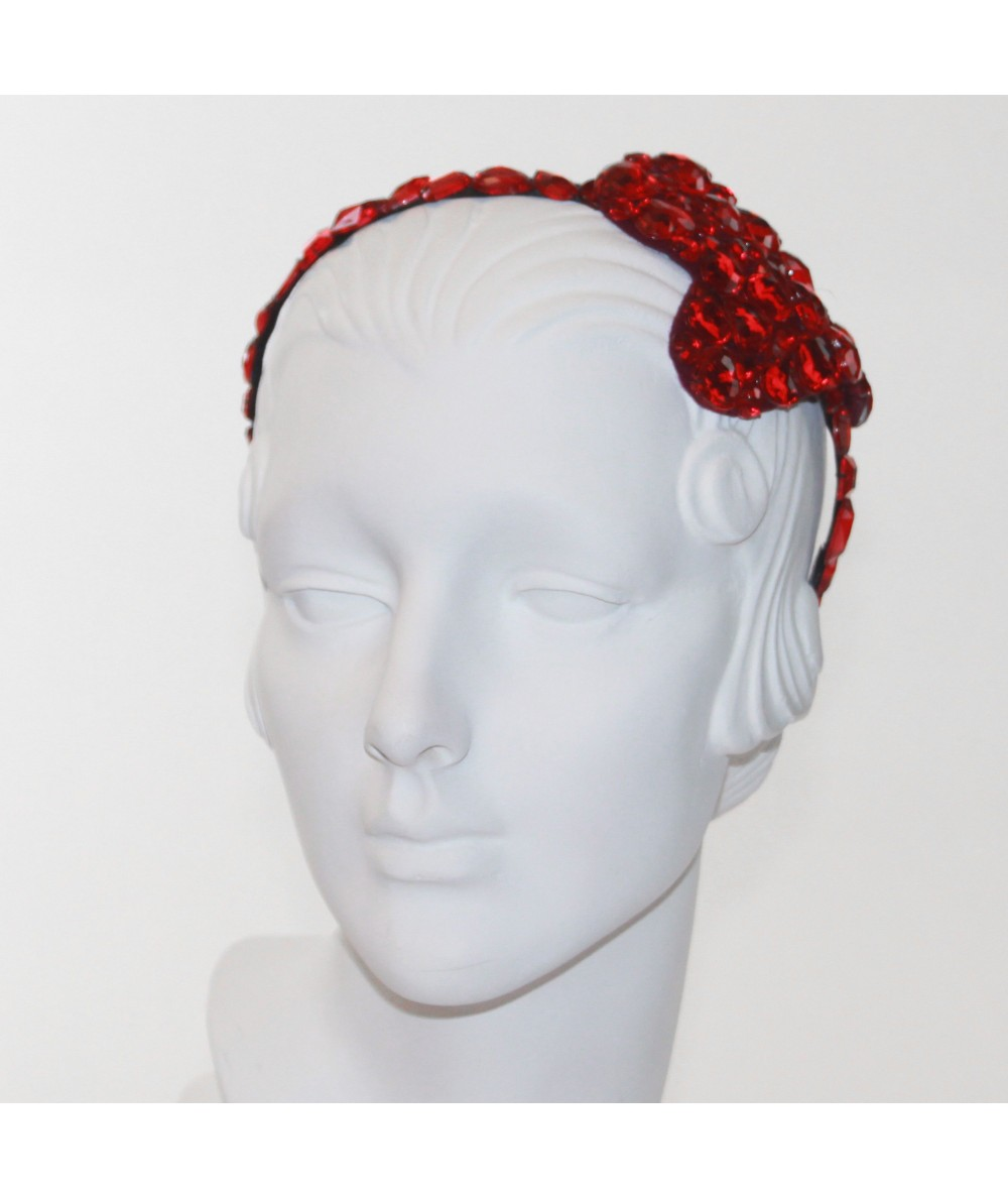 Gem Covered Headband with Heart Shape at Side