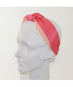 Peach with Coral Grosgrain Two-Toned Center Turban Headband