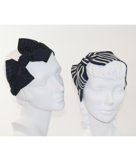 Bk with Navy - Navy with Cream Grosgrain Stripe Carolina Bow Headband