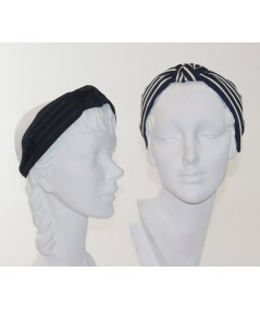 Black with Navy - Navy with Cream Grosgrain Stripe Bernadette Headband