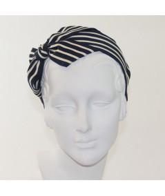 Navy with Cream Grosgrain Stripe Carolina Bow Headband