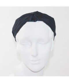 Black with Navy Grosgrain Stripe Bernadette Headband