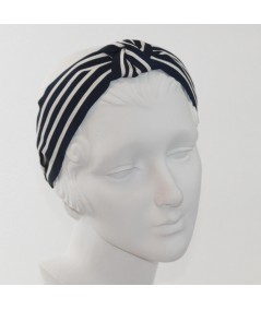 Navy with Cream Grosgrain Stripe Bernadette Headband