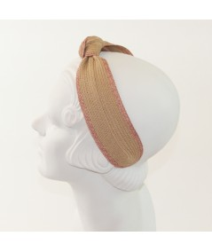 Camel with Raspberry Two-Toned Toyo Straw Center Turban Headband