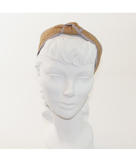 Wheat with Lavender Two-Toned Toyo Straw Center Turban Headband