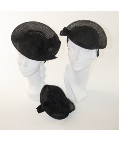 Trilby Horse Hair Headpiece Trimmed with Grosgrain Bow - HT411 Black - HT699 Black