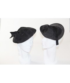 Trilby Horse Hair Headpiece Trimmed with Grosgrain Bow - HT660 Black