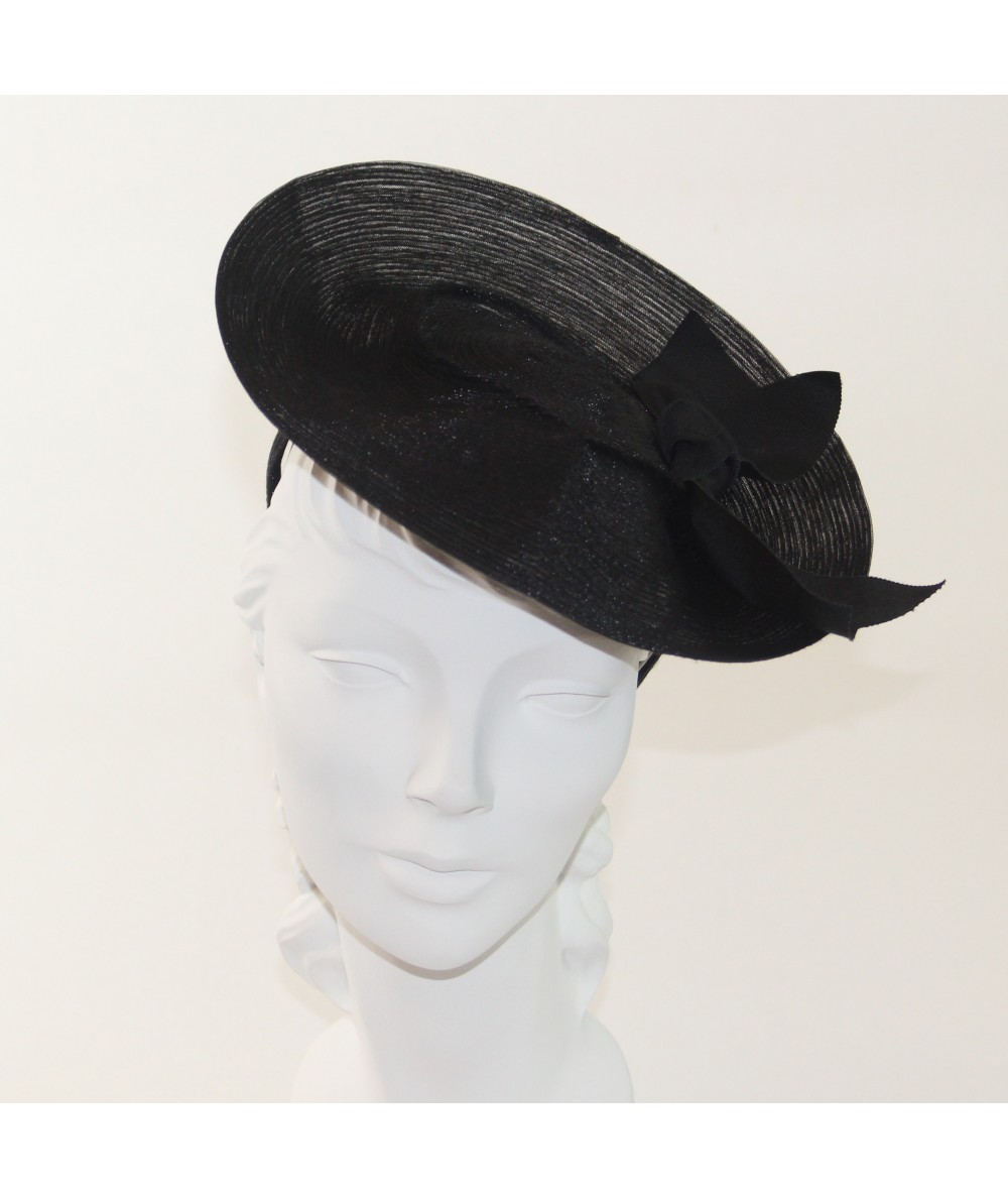 Trilby Horse Hair Headpiece Trimmed with Grosgrain Bow