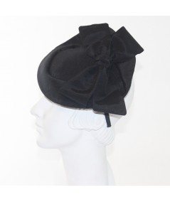 Black Bengaline with Bow Fascinator