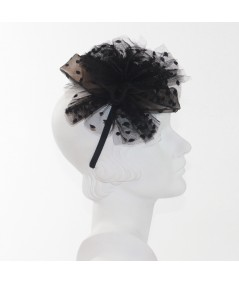Dotted Tulle Headpiece with Side Detail