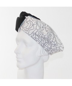 Abstract Printed Beret with Grosgrain Bow
