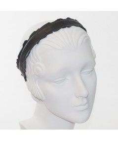 Black Leather Mosaic Headband