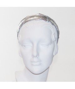 Silver Leather Mosaic Headband