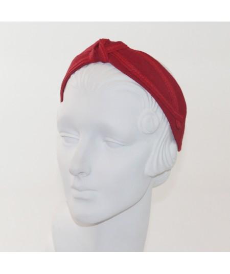 Red Linen Turban Headband by Jennifer Ouellette
