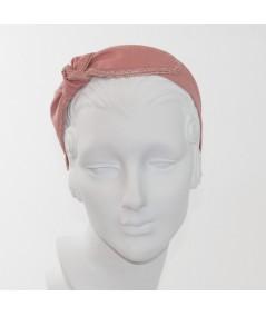 Blush Linen with Raspberry traw Side Turban Headband