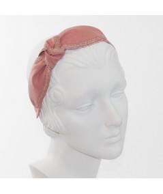 Blush Linen with Raspberry Straw Side Turban Headband