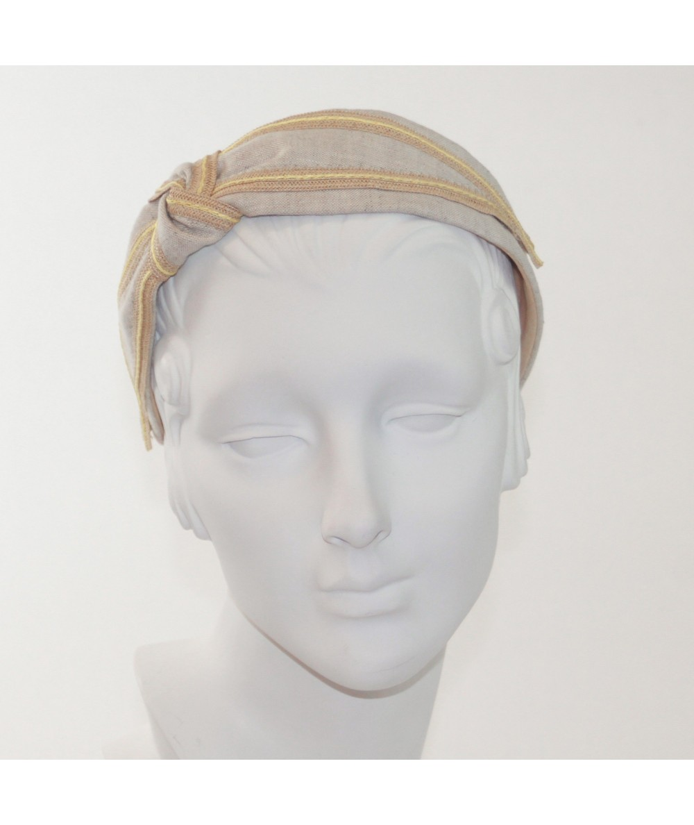Linen with Constrating Straw Side Turban Headband