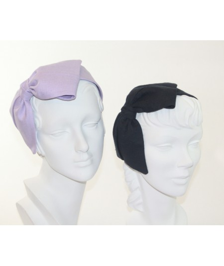 Lavender - Navy Linen Bow Headpiece