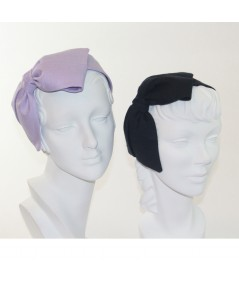 Lavender - Navy Linen Bow Headpiece