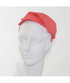 Coral Linen Leaves Abstract Headpiece
