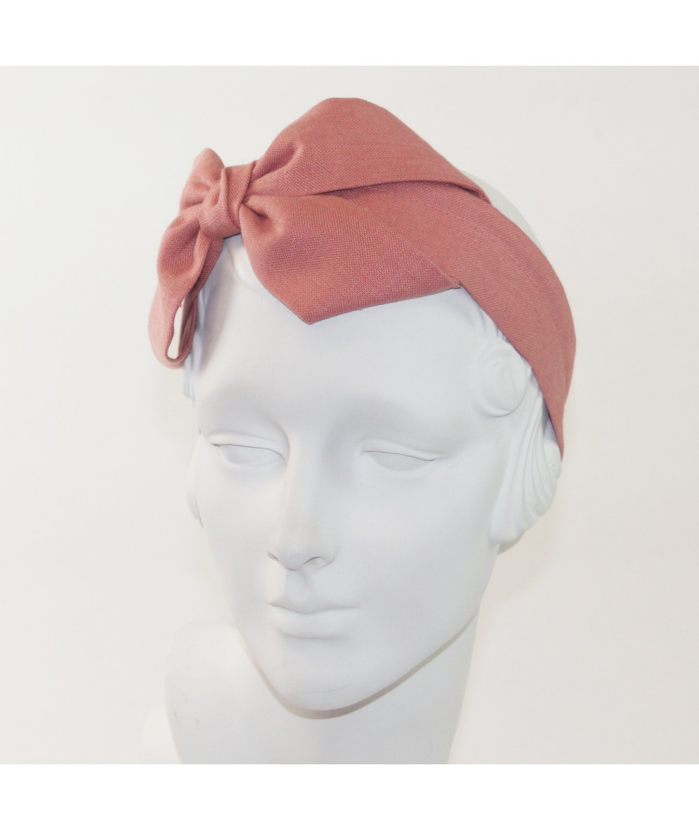 Blush Linen Carolina Bow Headband