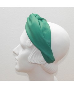 Kelly Green Leather Center Twist Turban Headband