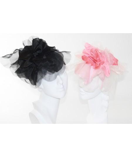 Black - Coral Fascinator Large Organza Flower Side Headpiece
