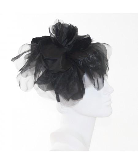 Black Fascinator Large Organza Flower Side Headpiece