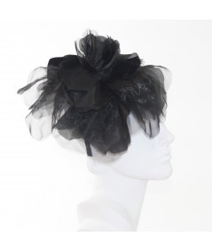Black Fascinator Large Organza Flower Side Headpiece