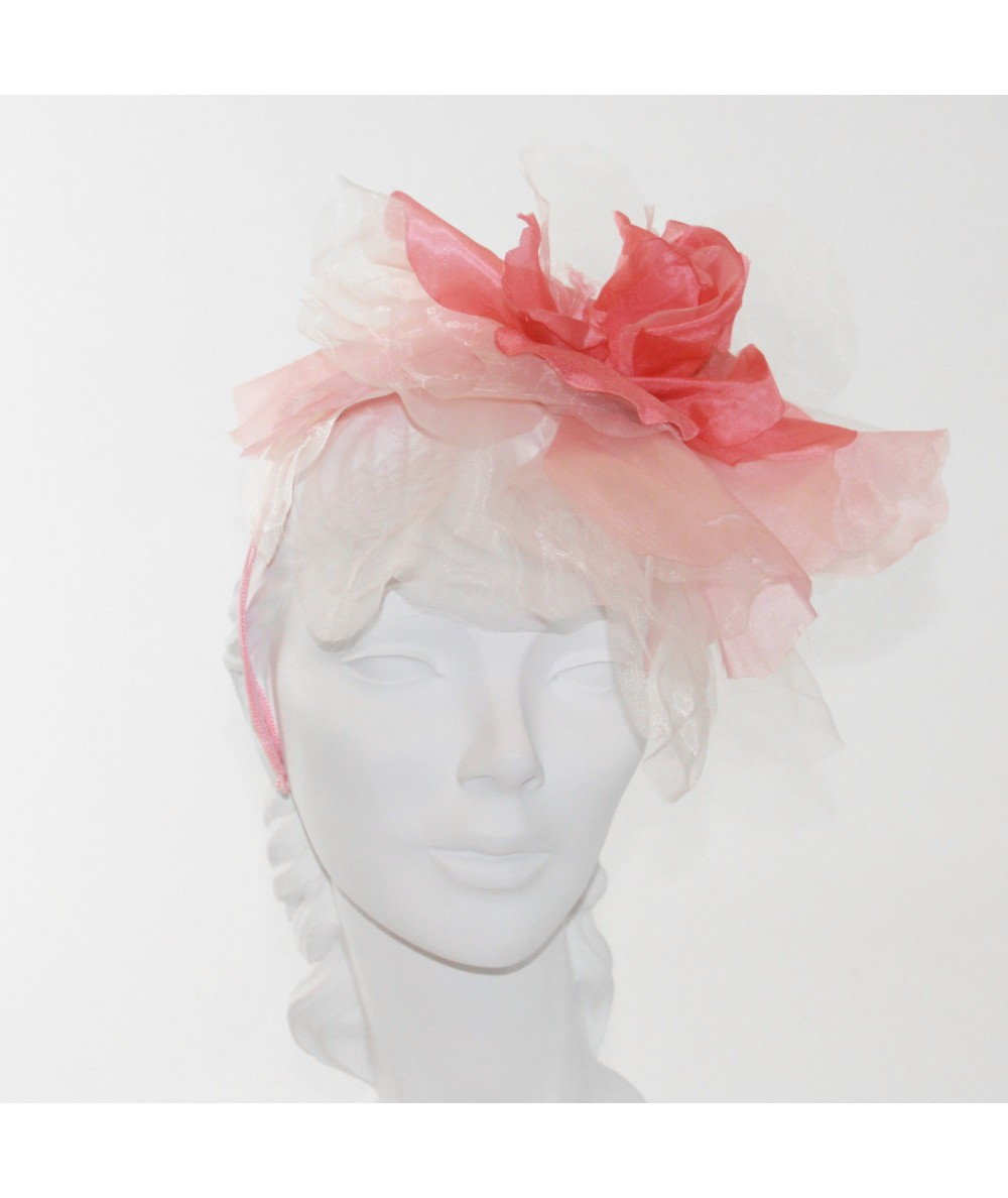 Coral Fascinator Large Organza Flower Side Headpiece