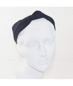 Dark Navy Straw Center Wide Turban Headband