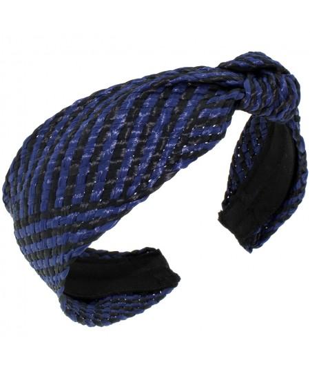 Navy Black POOLSIDE Raffia Turban with Side Knot