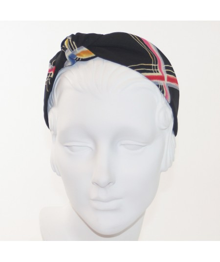 Black Line Printed Side Turban Headband