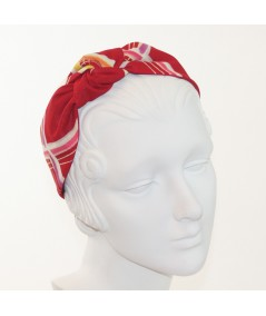 Red Line Printed Side Turban Headband