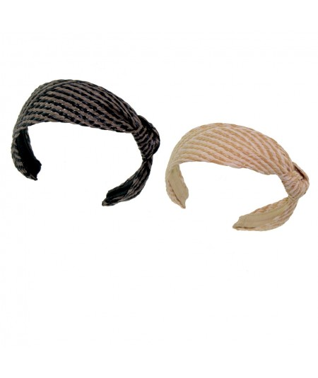 Cocoa Black - Natural Mix POOLSIDE Raffia Turban with Side Knot