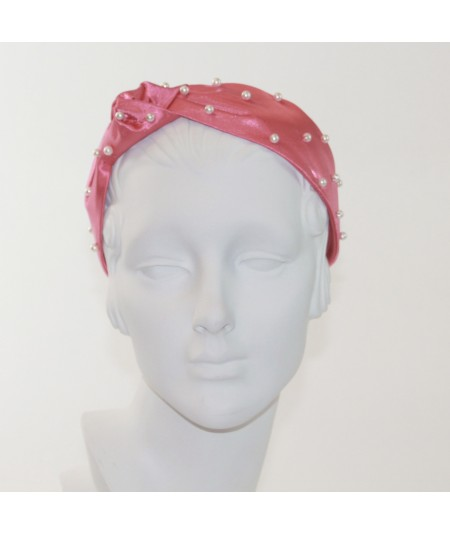 Coral Satin and Pearl Lana Turban