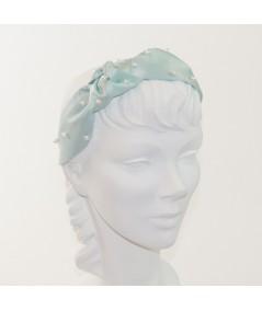 Aqua Satin and Pearl Lana Turban