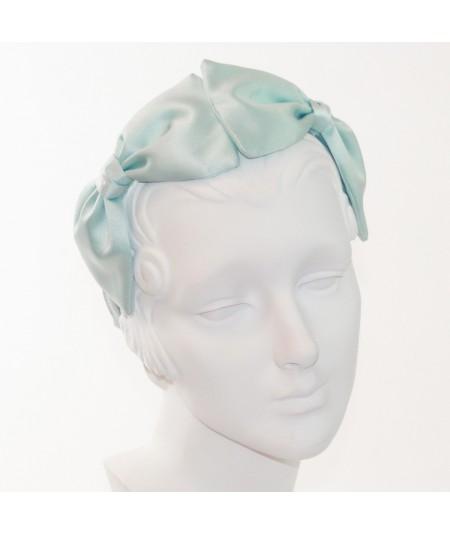 Aqua Satin Double Bow Headband