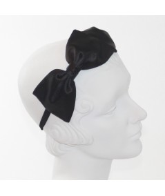 Black Satin Double Bow Headband