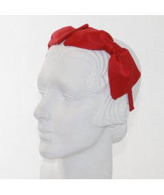 Red Satin Double Bow Headband