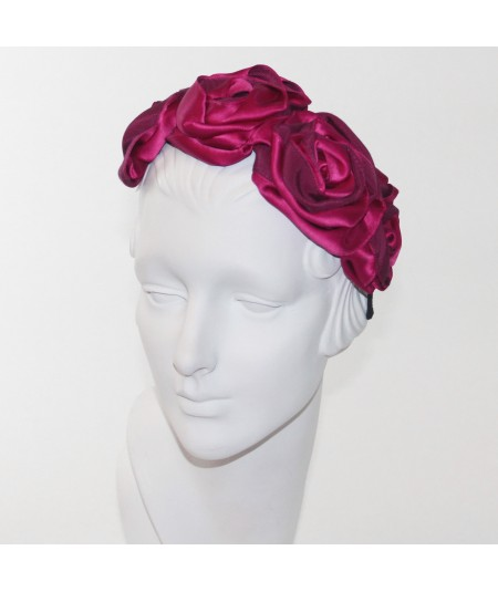 Wine Handmade Satin and Grosgrain Roses Headpiece